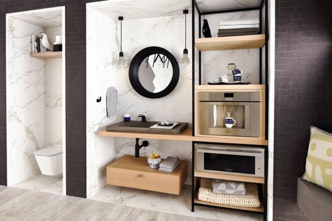 Modern wood bathroom vanity