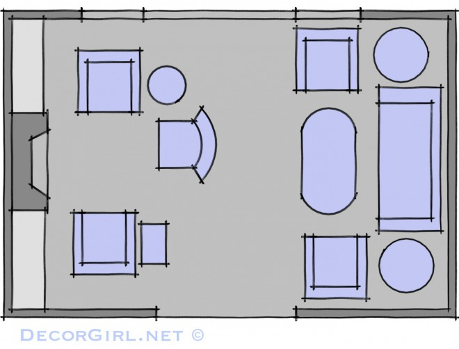 Living room with conversation zones