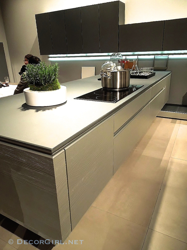 Kitchen cabinet with reveal grips
