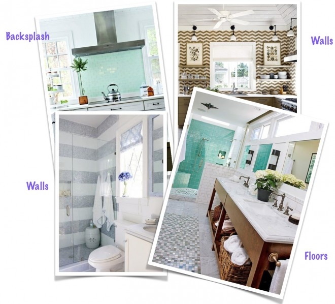 Decorative tile for kitchen and bathrooms