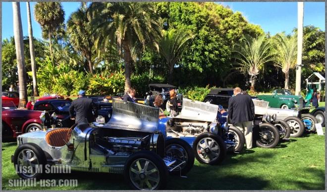 Open wheel Bugattis at Mar-A-Lago