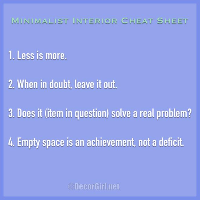 Minimalist Interior Cheat Sheet