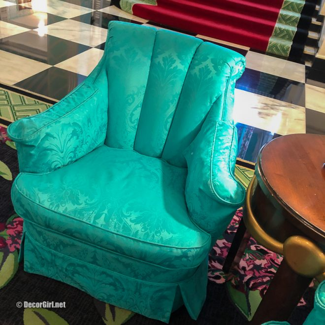 bold turquoise chair