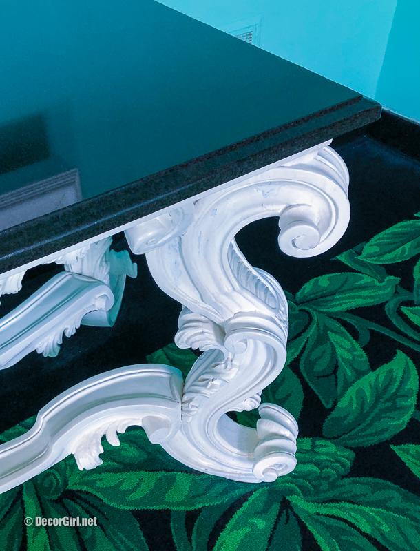 Dorothy Draper Baroque furniture in white